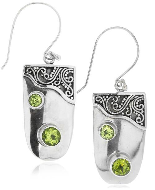 Sterling Silver .925 Peridot Drop Earrings