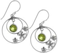 Sterling Silver .925 Hoop Peridot Drop Earrings