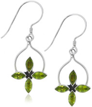 Sterling Silver .925 Star Peridot Drop Earrings