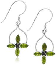 Sterling Silver .925 Star Peridot Drop Earrings
