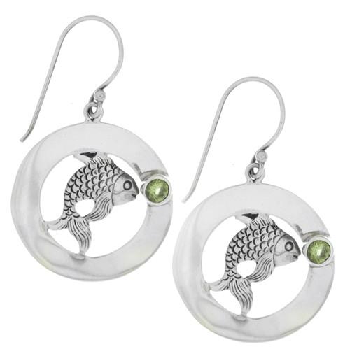 Sterling Silver .925 Fish Peridot Drop Earrings