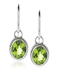Sterling Silver .925 Bali Oval Filigree Peridot Drop Earrings