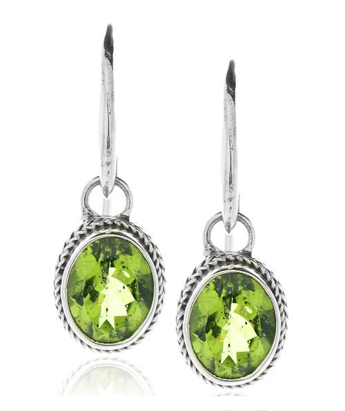 Sterling Silver .925 Bali Oval Filigree Peridot Drop Earrings