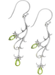 Sterling Silver .925 Bali Vine Peridot Drop Earrings
