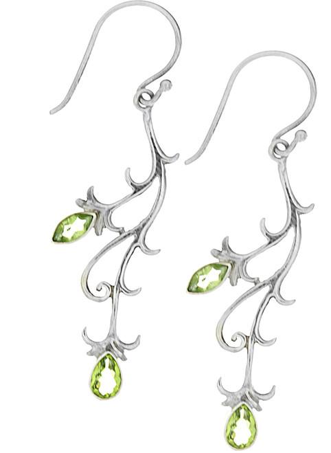 Sterling Silver .925 Bali Vine Peridot Drop Earrings