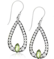 terling Silver .925 Open Pear Dot Outlined Bali Peridot Drop Earrings