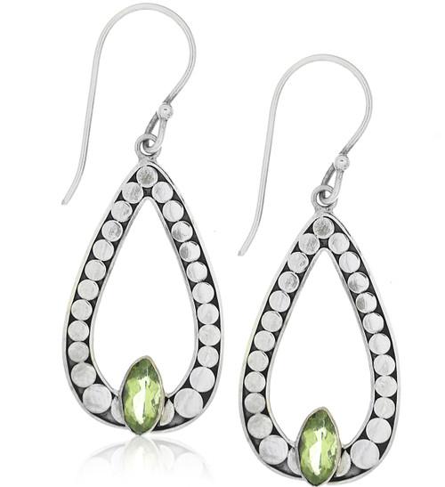 terling Silver .925 Open Pear Dot Outlined Bali Peridot Drop Earrings