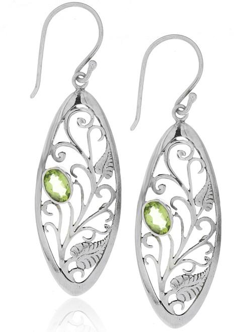 Sterling Silver .925 Oval Leafy Vine Bali Peridot Drop Earrings