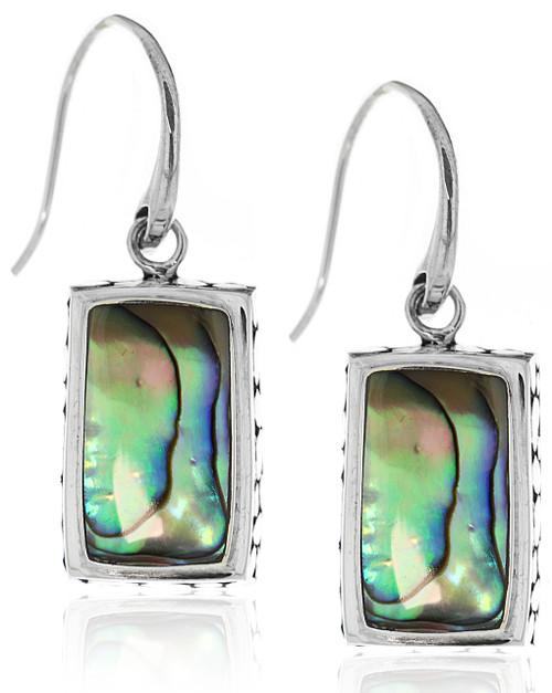 Sterling Silver .925 Abolone Rectangle Bali Drop Earrings