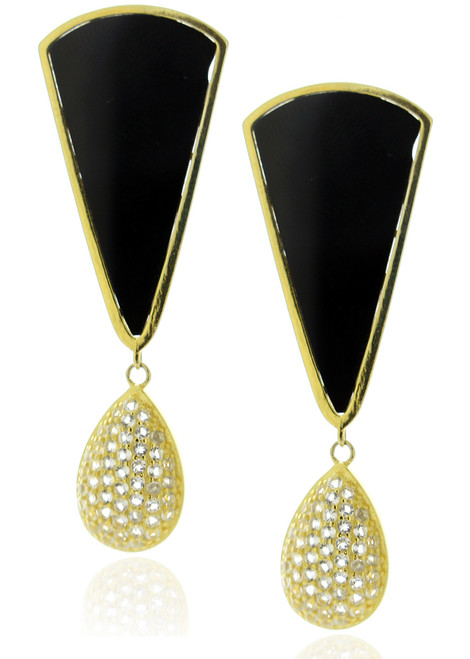 18k Gold Plated White Topaz Crystal and Onyx Triangle Drop Earrings