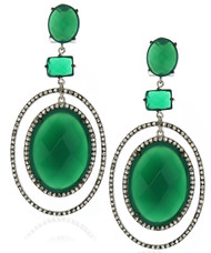 Oval Green Agate Pave White Topaz Drop Earrings