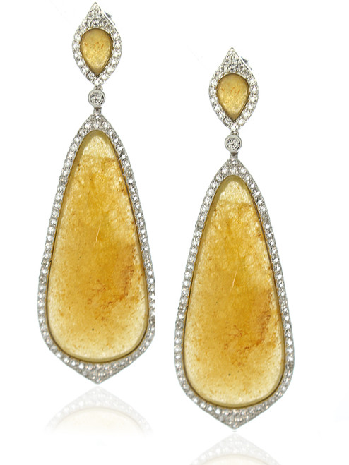 Yellow Jade Pave White Topaz Pear-shape Drop Earrings
