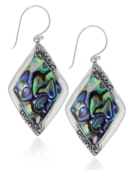 Sterling Silver .925 Abalone Shell Diamond Filigree Bali Drop Earrings