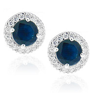 Sterling Silver 925 Sapphire Halo CZ Stud Earrings