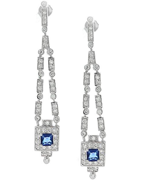 Linear Drop Sapphire Earrings