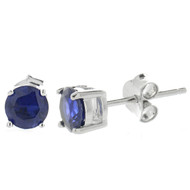 5mm Round Cubic Zirconia Sapphire Stud Earrings