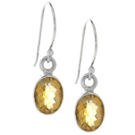 Sterling Silver 925 Oval Citrine Bali Earrings