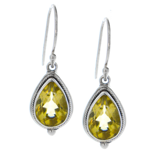 Sterling Silver 925 Pear Citrine Bali  Earrings