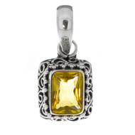 Sterling Silver 925 Filigree Rectangle Citrine Pendant