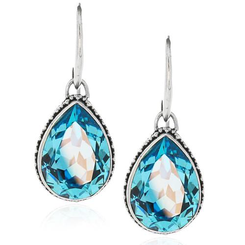 Sterling Silver 925 Pear Swarovski Crystal Drop Earrings
