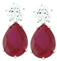 Sterling Silver Simulated Ruby Pear Shaped Drop Earrings
