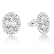 Sterling Silver Cubic Zirconia Pave Cable Stud Earrings