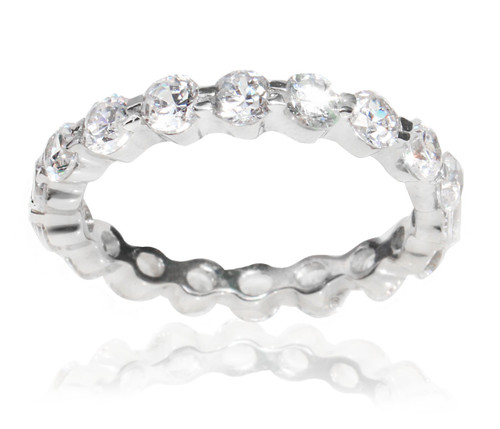 Sterling Silver 925 Round Cut Cubic Zirconia 1.6 TCW Eternity Band Ring