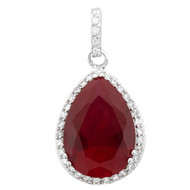 Sterling Silver Created Ruby and White Cubic Zirconia Pear Shape Pendant Necklace 16""