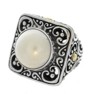 Silver 925 & 18k Gold Plated White Mabe Pearl Square Ornate Statement Ring