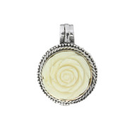 Sterling Silver 925 Bali Round Rose Bone Locket Pendant