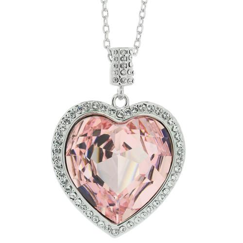 Swarovski Elements  Light Pink Crystal Heart Necklace