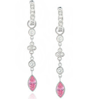 Cubic Zirconia Pave Huggy Hoop Drop Marquis Pink Drop Linear Earrings