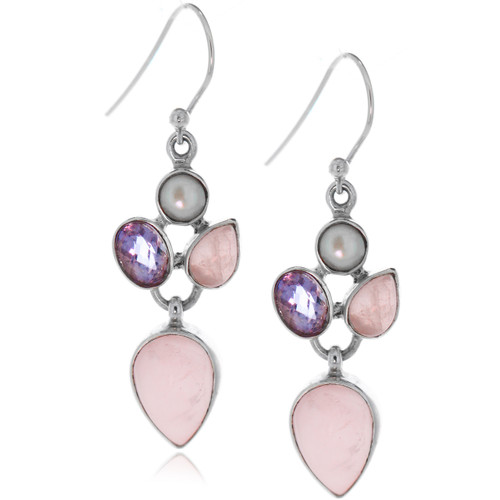 Sterling Silver 925 Pink Quarts and Amethyst Pearl Drop Earrings