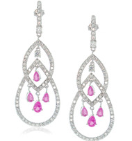 Sterling Silver Open Drop  Pink Pear-Cut Cubic Zirconia Crystal Earrings