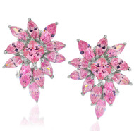Pink Cluster Marquise Cut Cubic Zirconia Earrings
