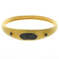 Textured Gold Plated Black CZ Bangle Bracelet