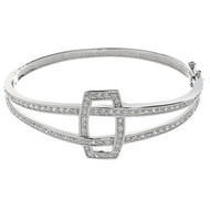 Abstract Design CZ Pave Bangle Bracelet