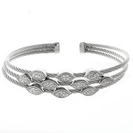 Triple Marquise Charms Wire Cuff Bracelet