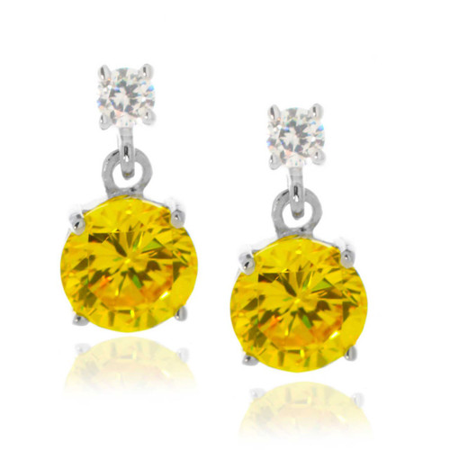 Petite Sterling Silver Clear and Yellow Round Drop Earrings