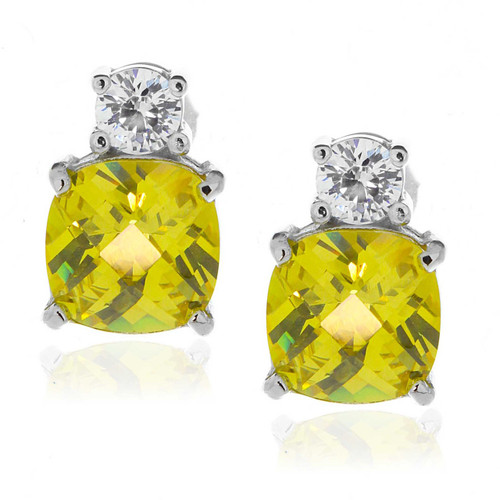 Sterling Silver Yellow and Clear CZ Stud Earrings