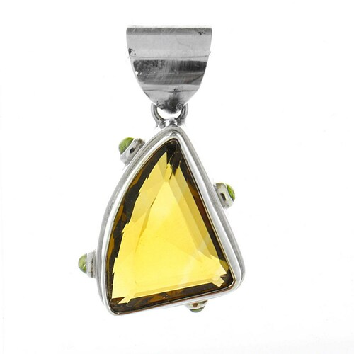 Bali Sterling Silver Citrine Yellow with Peridot Pendant