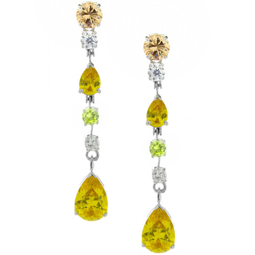 Drop CZ Multi Color Earrings