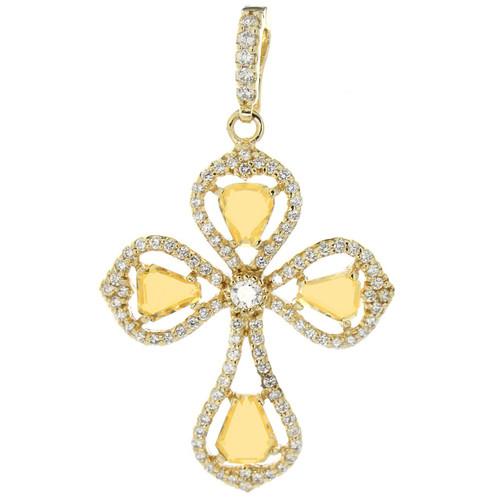 14k Gold Plated Citrine Cross Pendant
