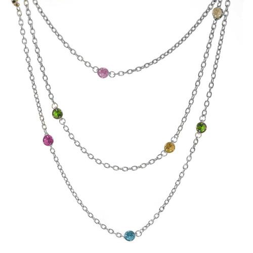 "Wrap-Around layers Multi Colored Swarovski Crystals Necklace, 76"""