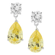 925 Silver Petite Round Clear CZ and Pear Yellow CZ Drop Earrings