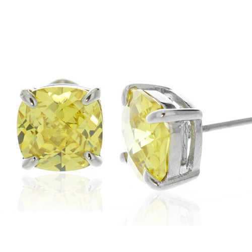 Citrine Cubic Zirconia Square-Cut Stud Earrings