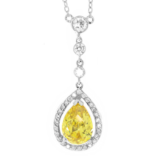 Sterling Silver Teardrop Yellow Cubic Zirconia Necklace