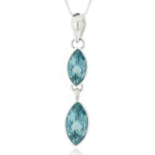 Sterling Silver .925 Double Marquis Blue Topaz Drop Pendant Necklace