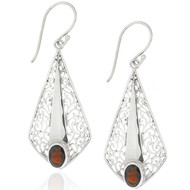 Sterling Silver Garnet Gemstone Filigree Drop Earrings
