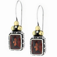 Sterling Silver Garnet Gemstone Rectangle 18k Gold Drop Earrings